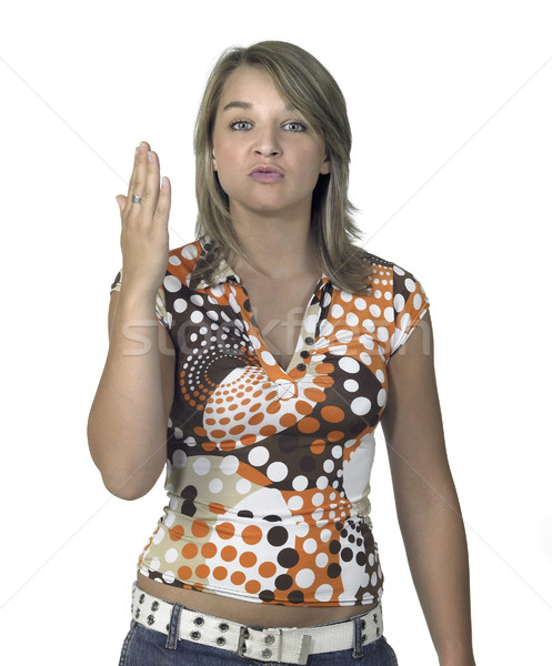 Provocante loiro menina mão retrato Foto stock © prill