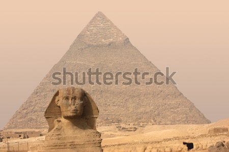 Stock photo: Pyramid and Sphinx