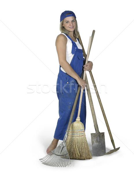 cute girl dressed in workwear with lots of gardening tools Stock photo © prill