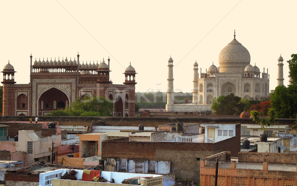 Taj Mahal ház ablak kő fehér márvány Stock fotó © prill