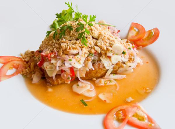 Preparado frutos do mar prato peixe limão prato Foto stock © prill