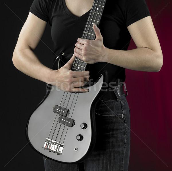Nő basszus gitár részlet fekete részben Stock fotó © prill