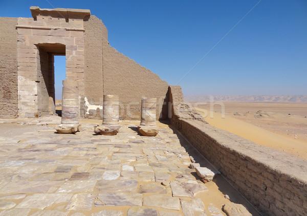 Romok régészeti helyszín oázis Egyiptom építkezés Stock fotó © prill