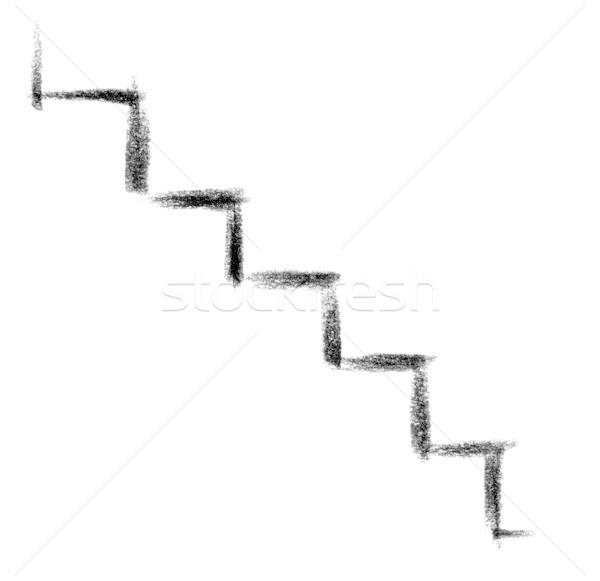 Trappenhuis icon illustratie symbolisch verf teken Stockfoto © prill