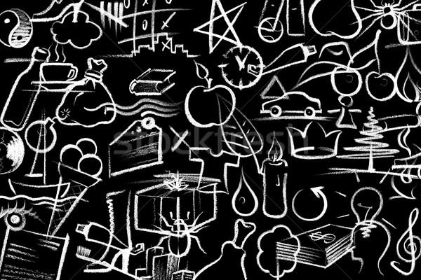 Zsírkréta festett szimbólumok fehér sötét tábla Stock fotó © prill