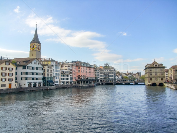 Zürih İsviçre manzara şehir su Stok fotoğraf © prill