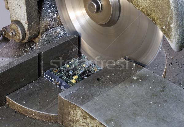 Serra pormenor placa de circuito construção Foto stock © prill