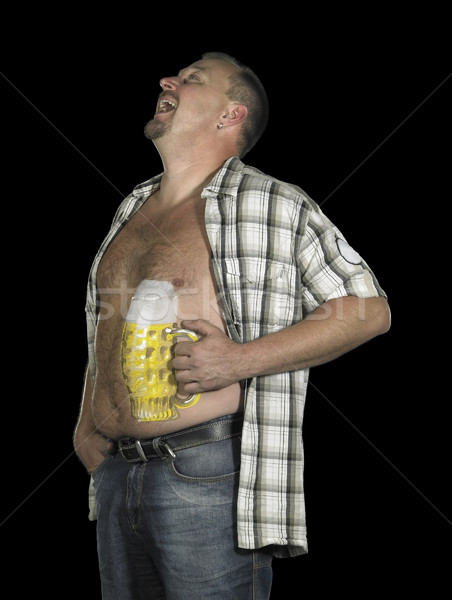laughing man with beer belly Stock photo © prill