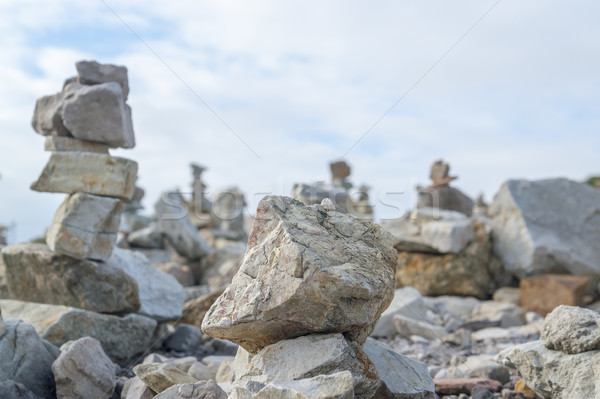 stone piles at Pointe de Pen-Hir Stock photo © prill