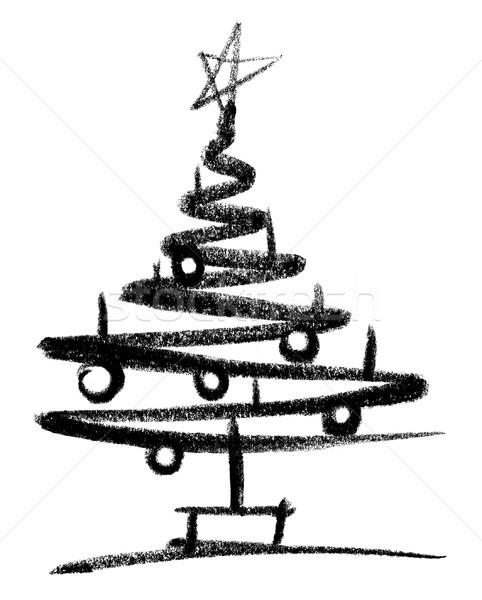 Kerstboom schets witte Maakt een reservekopie ontwerp kunst Stockfoto © prill