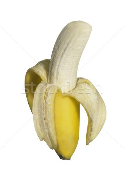 Hälfte geschält Bananen frischen isoliert weiß Stock foto © prill