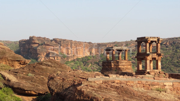 historic temple near Badami Stock photo © prill
