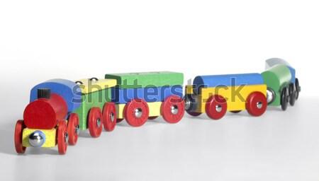 Colorato giocattolo di legno treno studio fotografia buio Foto d'archivio © prill