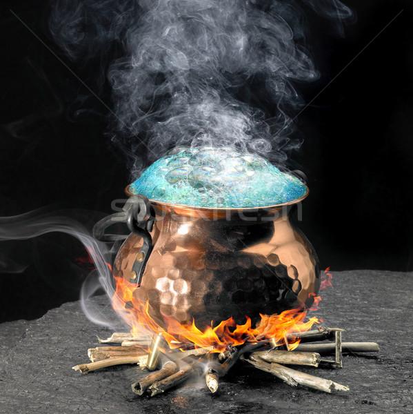 青 魔法 銅 大釜 暖炉 火災 ストックフォト © prill