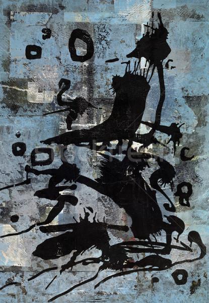 Stockfoto: Levendig · zwarte · print · Blauw · Maakt · een · reservekopie · abstract