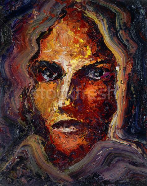 женский лице нефть Живопись мне Сток-фото © prill