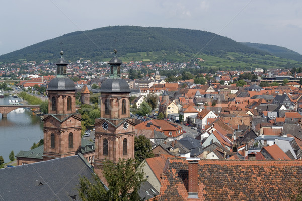 Miltenberg aerial view in sunny ambiance Stock photo © prill