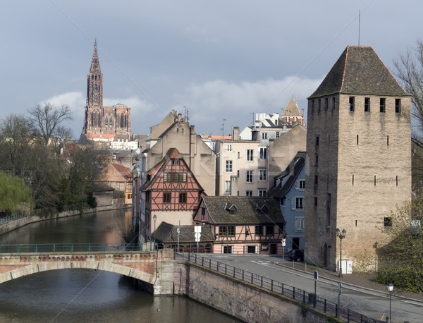 Strasbourg scenery with cathedral Stock photo © prill