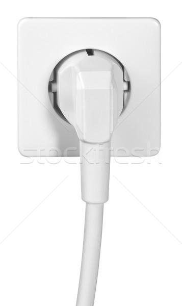 Poder cordão soquete branco de volta cabo Foto stock © prill