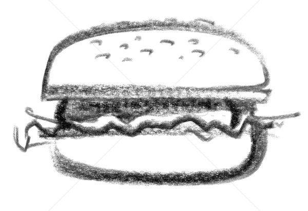 Hamburger icon illustratie hamburger voedsel verf Stockfoto © prill