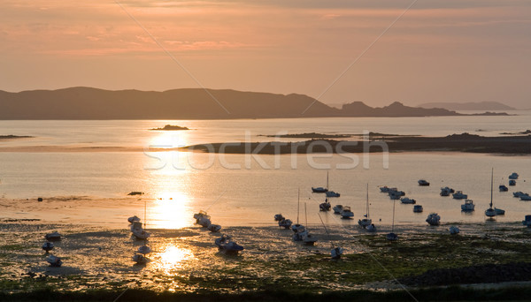 Rosa granito costa idilliaco barche Foto d'archivio © prill