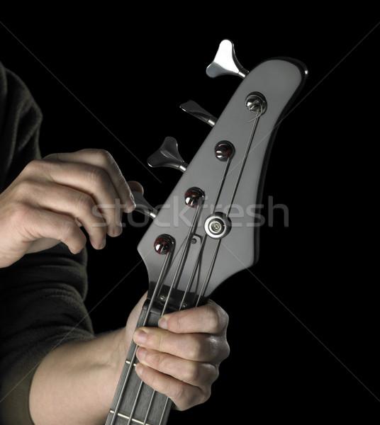 Basszus gitár tuning részlet fekete kezek Stock fotó © prill
