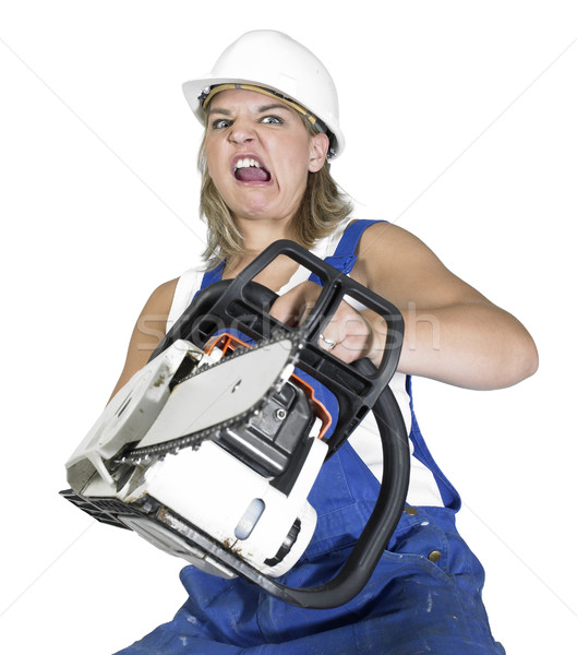 weird chain saw girl Stock photo © prill