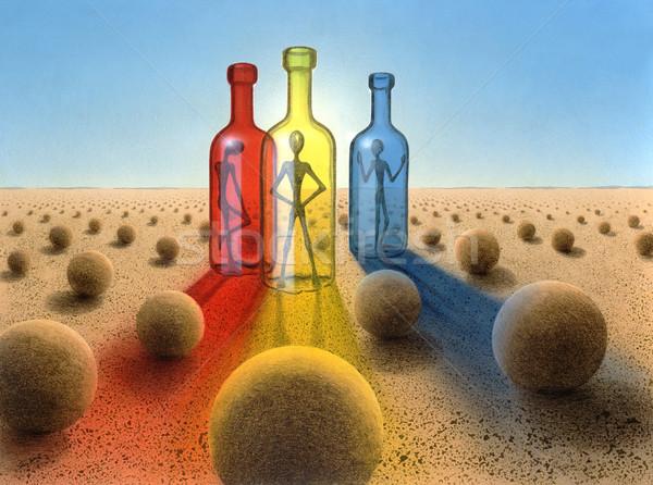 три бутылок сюрреалистичный пустыне фотография окрашенный Сток-фото © prill