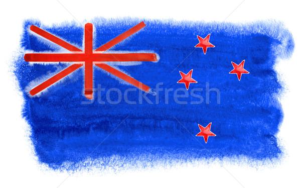 Új-Zéland zászló illusztráció vízfesték háttér művészet Stock fotó © prill