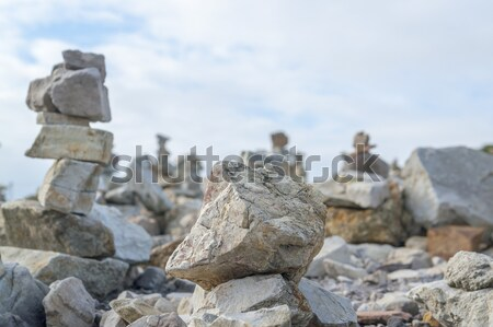stone piles at Pointe de Pen-Hir Stock photo © prill