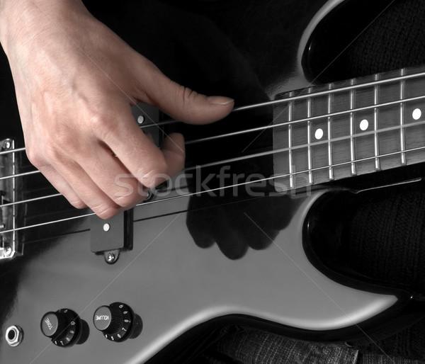 El bas gitar kadın detay siyah Stok fotoğraf © prill