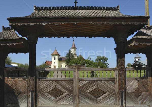 Kilise Romanya mizah manastır ağaç Bina Stok fotoğraf © prill