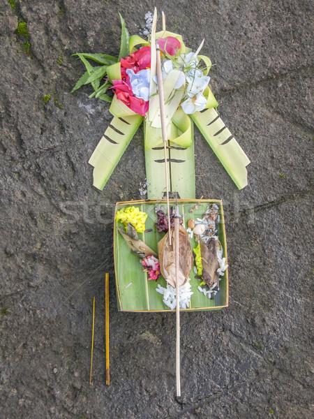 áldozat Bali tárgy föld Indonézia étel Stock fotó © prill