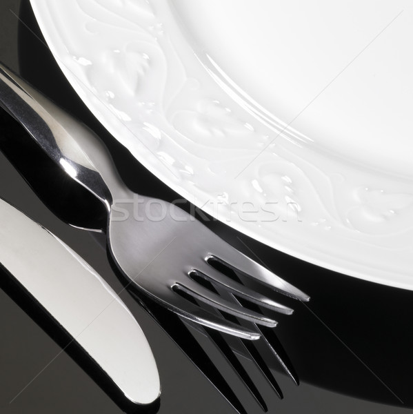 porcelain dinnerware with fork and knife Stock photo © prill