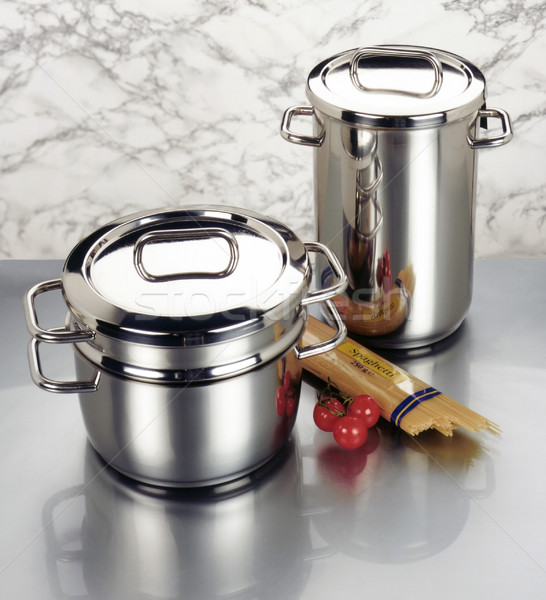 arrangement of stainless steel cookware Stock photo © prill