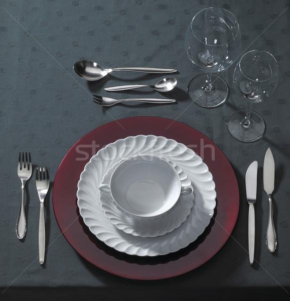 Lieu chandelles sombre table Photo stock © prill