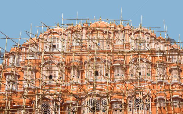 Fachada andamio palacio ciudad pared viaje Foto stock © prill