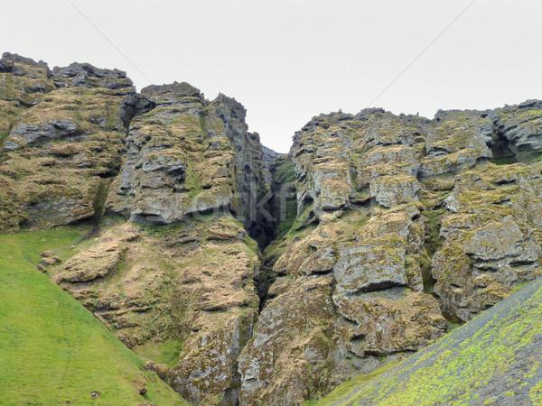 Kaya oluşumu İzlanda dağ manzara çim manzara Stok fotoğraf © prill