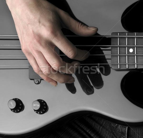 hand on bass guitar Stock photo © prill