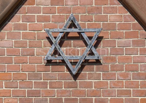 Symbolisch detail kerkhof metalen star Rood Stockfoto © prill