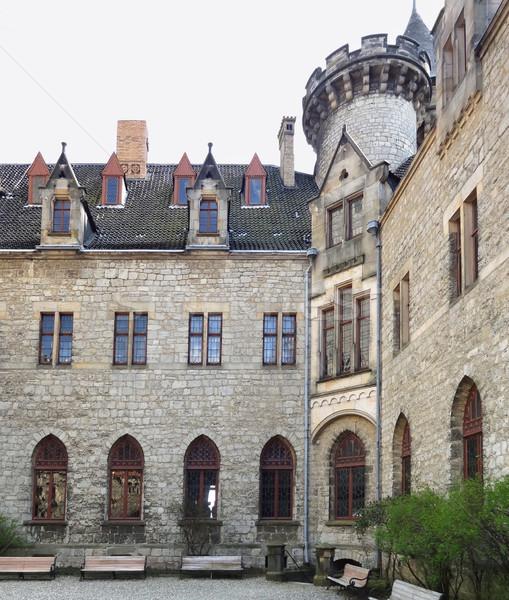 Castelo pormenor baixar pedra arquitetura torre Foto stock © prill