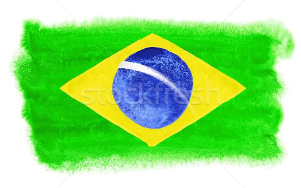 Brezilya bayrak örnek suluboya arka plan sanat Stok fotoğraf © prill