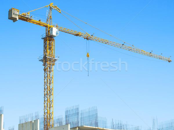 Grúa cielo azul concretas bloques Foto stock © Pruser