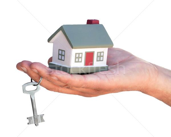 Elrendezés kunyhók kéz ujj építkezés ablak Stock fotó © Pruser