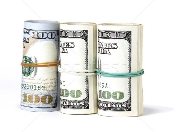 100 dólares banco notas aislado blanco Foto stock © Pruser