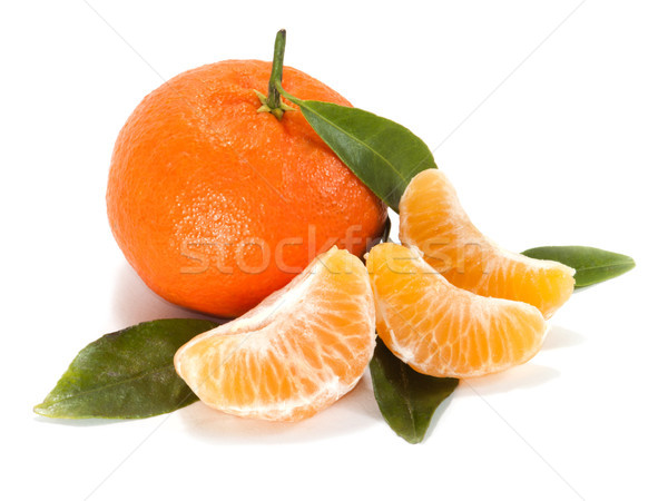 Ripe mandarin with leaves close-up Stock photo © Pruser