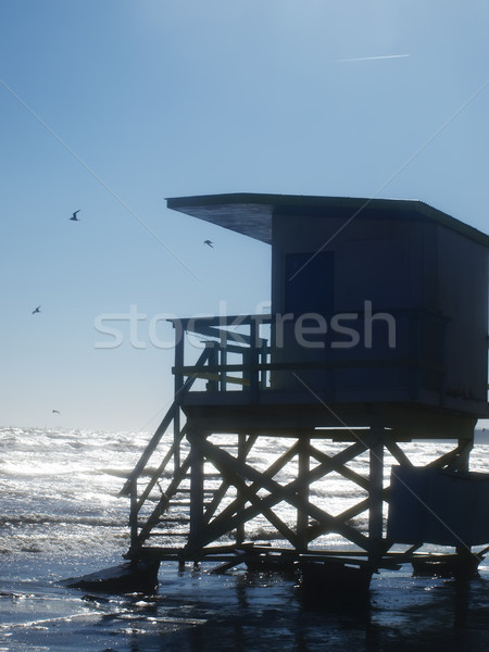 Seascape, rescue station on the ocean backlit Stock photo © Pruser