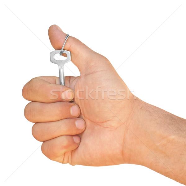 Hand sleutel witte sleutels opknoping weinig Stockfoto © Pruser
