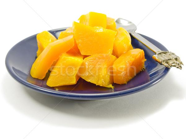Alimentos calabaza sabroso rebanadas azul Foto stock © Pruser