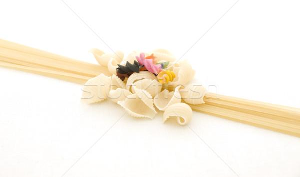 Espaguetis pasta diferente italiano aislado blanco Foto stock © Pruser